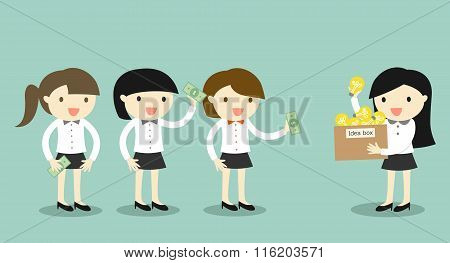 Business concept, Businessman woman is selling her idea to another business women.