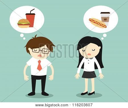 Business concept, Businessman and business woman feeling tired and thinking about food.