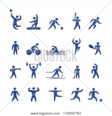 Vector Pencil Shape Popular Sports Athletes Icons.