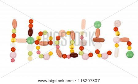 health inscription made from pills