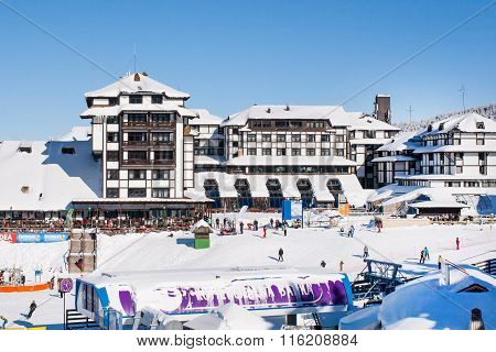 Panorama of ski resort Kopaonik, Serbia, hotels, restaurants, people walking and skiing