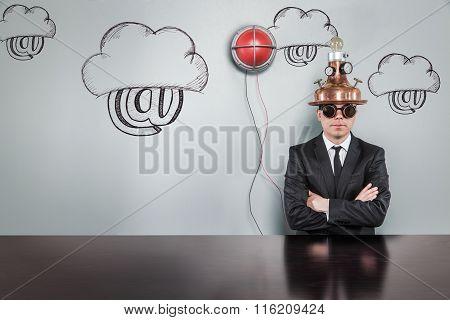Cloud computing concept with alert light and vintage businessman