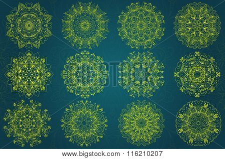 Set Of Abstract Design Element. Round Mandalas In Vector. Graphic Template For Your Design. Decorati