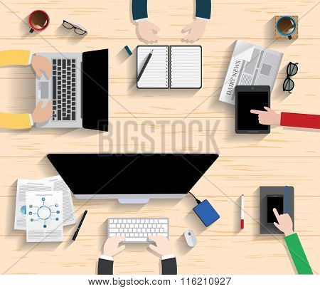 Vector Flat Workplace Of Designer With Devices Illustration