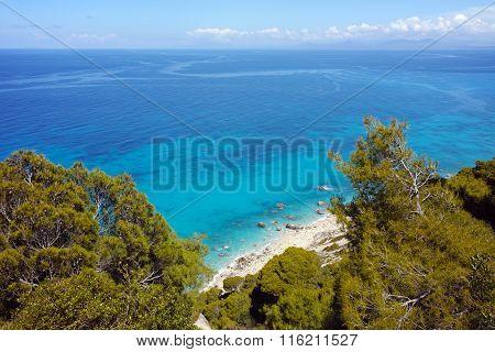Blue waters of Kokkinos Vrachos Beach, Lefkada, Greece