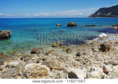 Pebbly beach of Agios Nikitas, Lefkada, Greece
