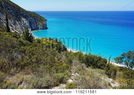 rocky coast of Milos Beach, Lefkada,  Greece