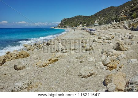 Stones over the sand of Katisma Beach, Lefkada, Greece