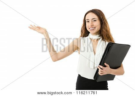 Business Woman Showing Text Space