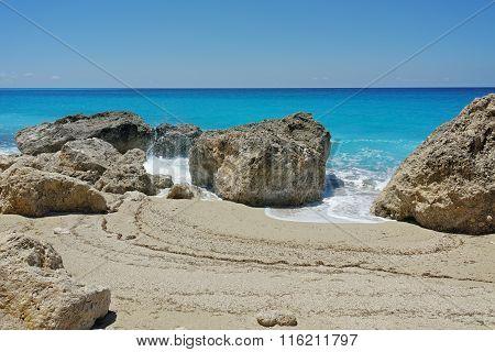 Rocks in the water at Megali Petra beach, Lefkada, Greece
