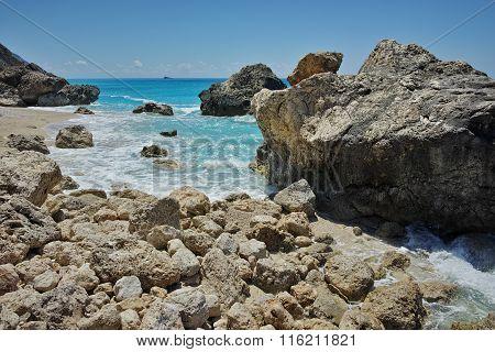View of Megali Petra beach, Lefkada, Ionian Islands, Greece