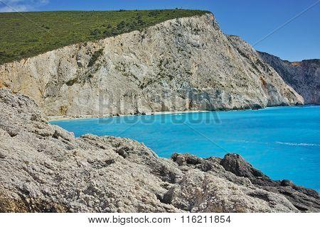 View of Porto Katsiki Beach, Lefkada, Ionian Islands, Greece
