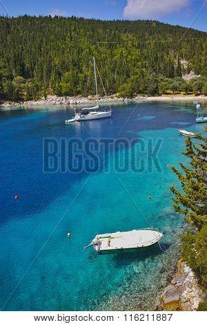 Small Boats in foki fiskardo beach, Kefalonia,  Greece