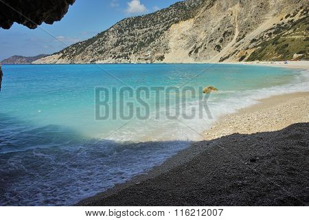 Small Cave at Myrtos Beach, Kefalonia, Greece