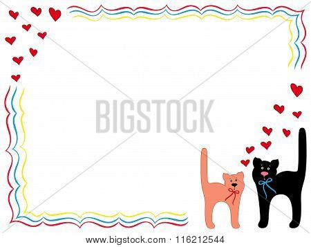 Cat And Kitty With Hearts