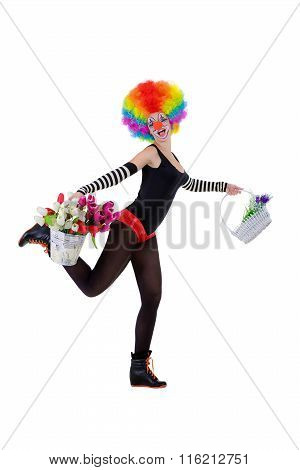 Clown Keeps A Flowers Basket And A Bucket Of Tulips Isolated On The White Background