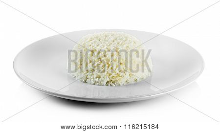 Cooked Rice With Plate Isolated On White Background