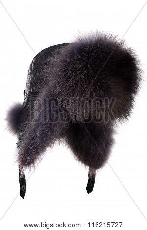 Fur cap for winter weather.