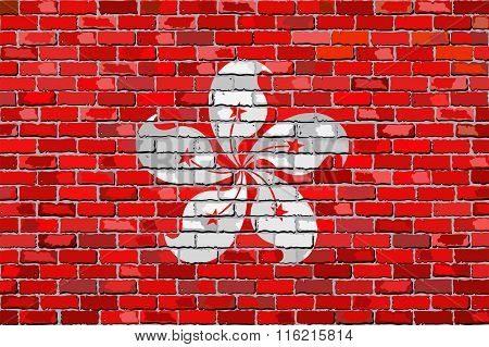 Flag Of Hong Kong On A Brick Wall.eps