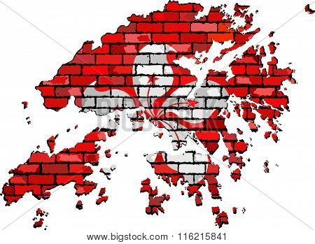 Hong Kong Map On A Brick Wall.eps