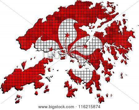 Hong Kong Map With Flag Inside.eps