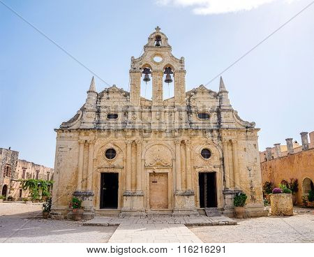 Venetian baroque church of the famous Arkadi Monastery at Crete. Greece. It was built in the 16th century and almost destructed in 1866 by the Ottomans.