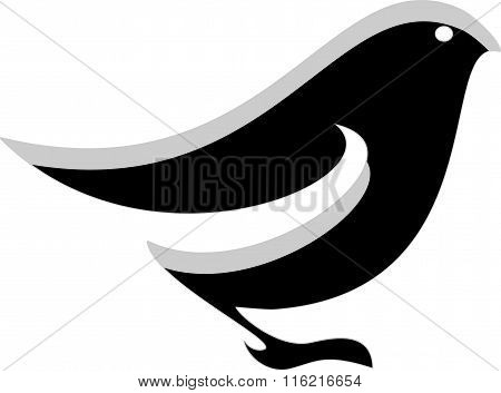Black and white vector stylized logo of bird. A small bird, the logo for clinic