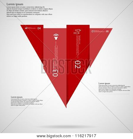 Triangle Infographic Template Vertically Divided To Four Red Parts