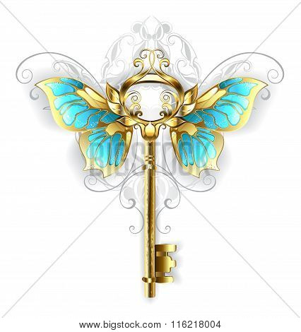 Golden Key With Butterfly Wings