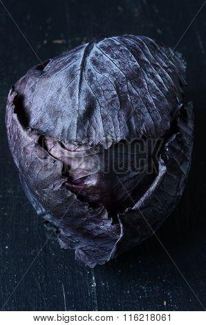 Red Cabbage On Dark Background