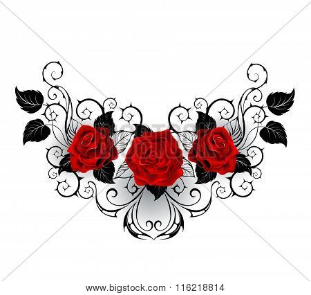 Symmetrical Tattoo Of Red Roses
