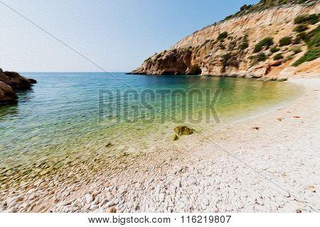 Asia In Thurkey Antalya Lycia Way Water Rocks And Sky Near The Nature