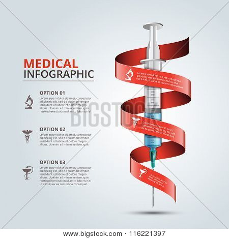 Vector syringe with red ribbon for infographics.