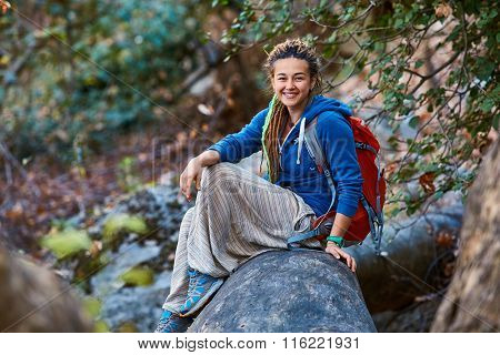 woman hiking in beautiful forest