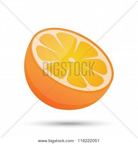 single half orange on white background