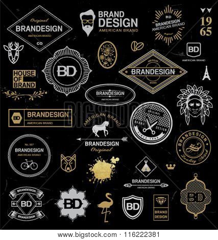 METALLIC DESIGN ELEMENTS. Brand objects, labels, ribbons, symbols...Editable vector illustration file.