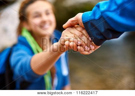 hiker woman getting help