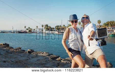 Funny Couple Take Vacation Selfie On The Sea Bay
