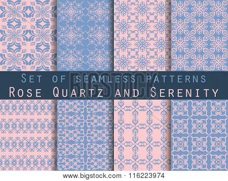 Set Of Seamless Patterns. Rose Quartz And Serenity Violet Colors. The Pattern For Wallpaper, Tiles,