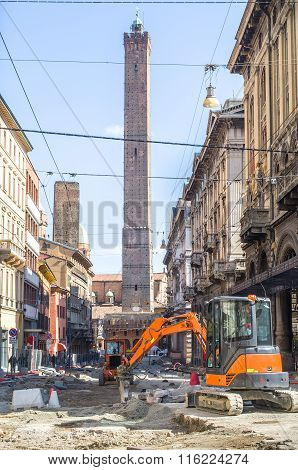 Bologna, Italy - March 7, 2015:  Bulldozers In Via Rizzoli During The Construction Site For Road Res