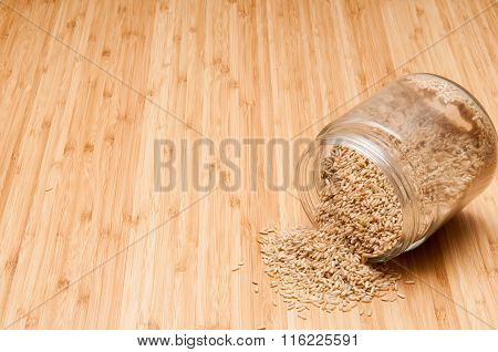 Spilled jar of rice