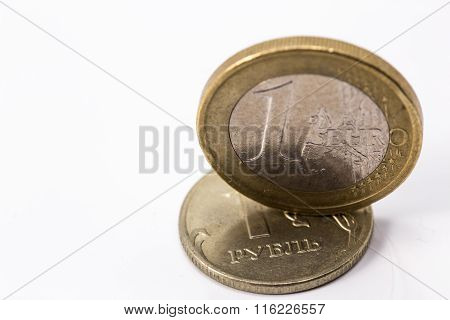 Euro And Russian Rubles