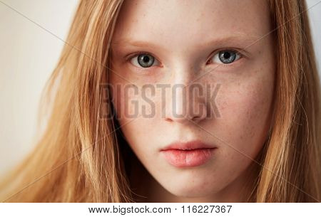 Young Eyes Girl Beautiful Redhead Freckles Woman Face Closeup Portrait With Healthy Skin.