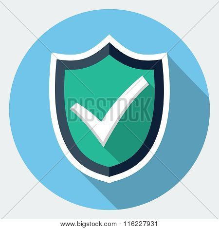 Vector shield with check mark flat icon