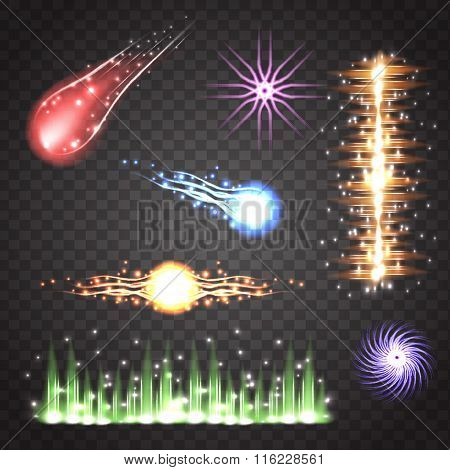 Color Vector Meteor And Abstract Lightning Object On Transparent Plaid Background. Fall Star In Spac