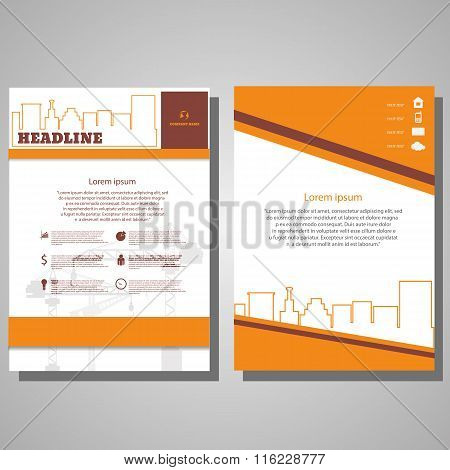 Orange Brochure Flyer Design Architecture Design Concept. Business Brochure Template. Card With Head