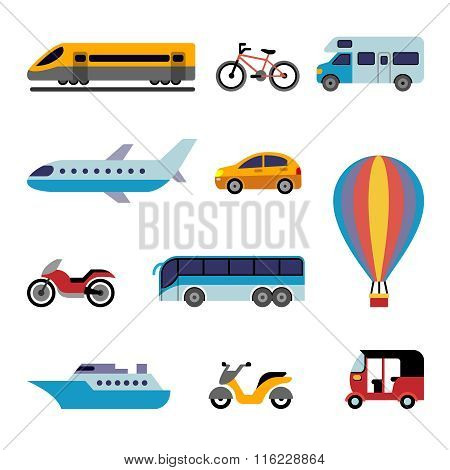 Colorfull Flat Transport Icons