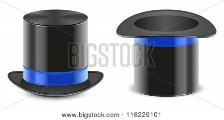 Set black hat magician cylinder