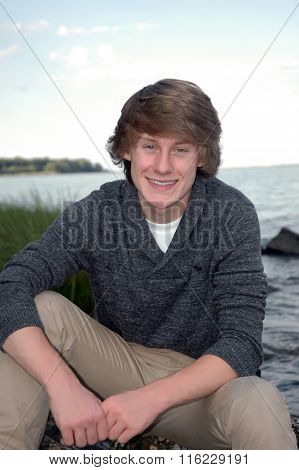 Smiling Teen Male Outside on Beach After Invisalign