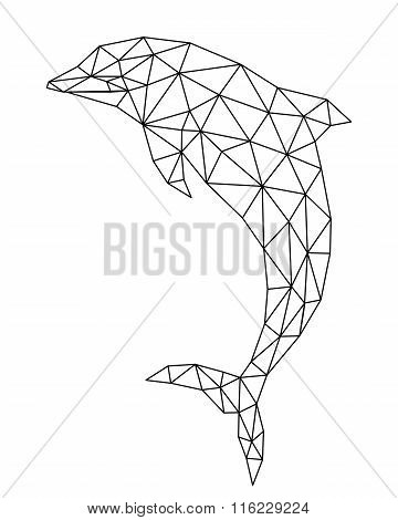 polygonal dolphin silhouette.